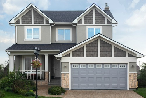 two story home with garage