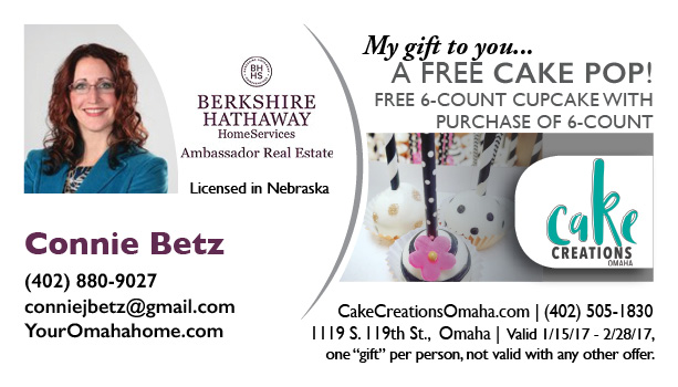 Enjoy a Complimentary Cake Pop from Connie Betz, Omaha Realtor